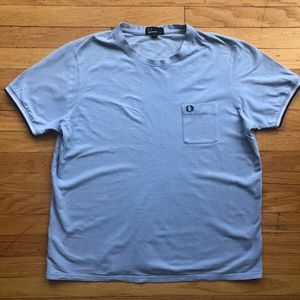 FRED PERRY Chambray Blue Twin Tipped Pocket Tee XL